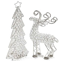 "3.5"" x 8"" x 16"" Silver Crystal Christmas Tree - $31.45"