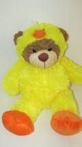 "Goffa Intl brown teddy bear in duck costume shaggy fur large 21"" hood co... - $19.79"