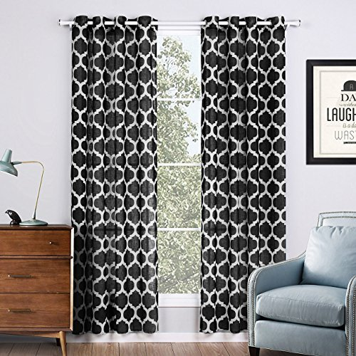 jaoul linen textured semi sheer curtains for living room bedroom geometric moroc curtains
