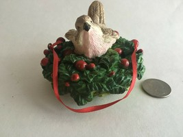 "Vintage Christmas Ornaments Intricate Resin Bird and Wreath 4"" X 4"" X 3""  - $9.85"