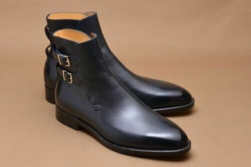 Handmade Men's Blue Leather High Ankle Monk Strap Jodhpurs Boots