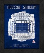 """Arizona Stadium """"Retro"""" Stadium Seating Chart 13 x 16 Framed Print  - $39.95"""