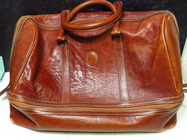 Vtg La Tour Eiffel 1887 Leather Duffle Bag Late 80s Early 90s Brown Hand... - $83.16
