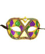 Purple Green Gold Harlequin Jewel Mardi Gras Masquerade Mask - $15.95