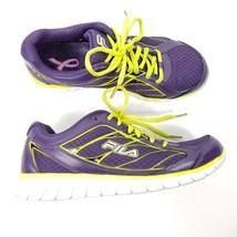 Fila Womens Running Shoes Sz 7.5 Cancer Awareness Purple Neon Green Athl... - €19,00 EUR