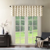 Luxury Ivory & Brown Embroidered Ogee Window Valance - Rod Pocket - $30.39