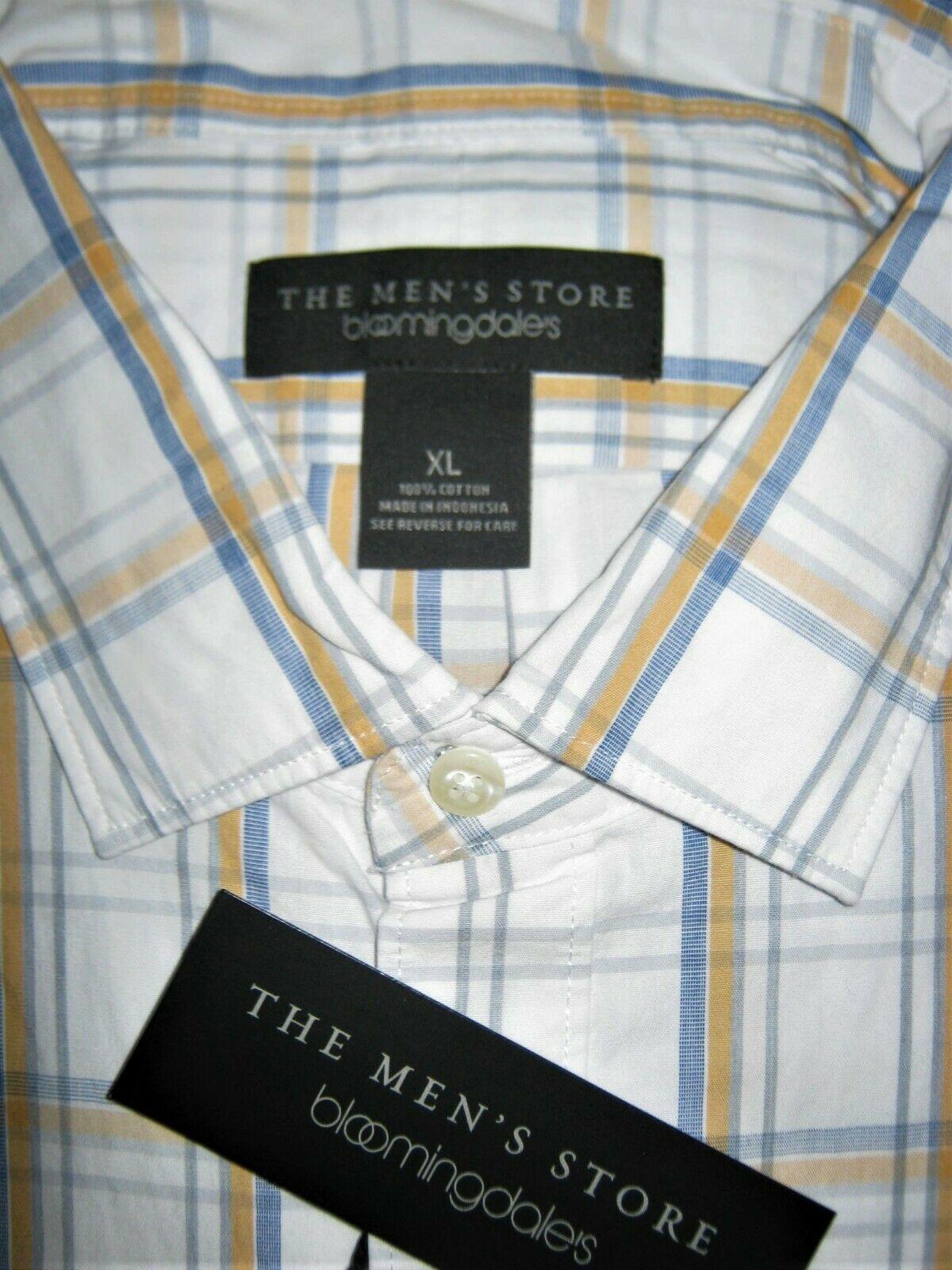 Mens Bloomingdales Button-Down Blue Plaid Gold Long Sleeve White Cotton Shirt XL
