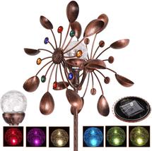 Solar Wind Spinner Multi-Color LED Lighting Solar Powered Glass Ball NEW - $54.61