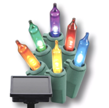 Philips 50ct LED Christmas Solar Dusk to Dawn Mini String Lights Multicolored