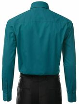 Berlioni Italy Men's Long Sleeve Solid Regular Fit Teal Dress Shirt - 2XL image 3