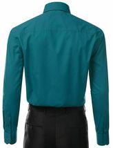 Berlioni Italy Men's Long Sleeve Solid Regular Fit Teal Dress Shirt - 2XL image 3