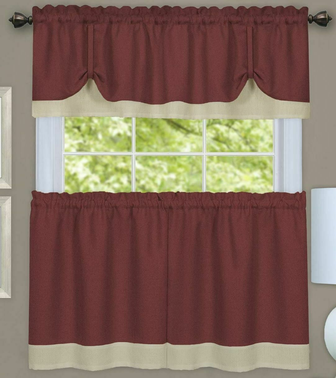 "Primary image for 3 pc Curtains Set: 2 Tiers & Valance (58""x14"") MARSALA BROWN & BEIGE,DARCY,Achim"