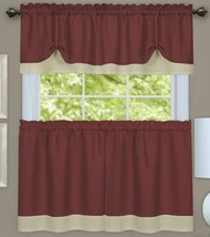 "3 pc Curtains Set: 2 Tiers & Valance (58""x14"") MARSALA BROWN & BEIGE,DAR... - $22.76"