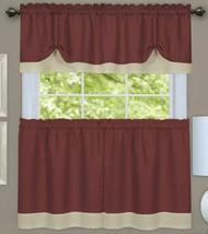 """3 Pc Curtains Set: 2 Tiers & Valance (58""""x14"""") Marsala Brown & Beige,Darcy,Achim - $22.76"""