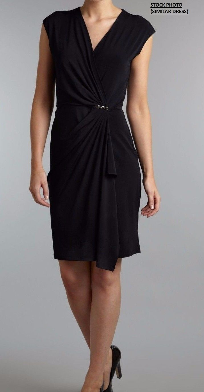 Primary image for New Michael Michael Kors Women's V-Neck Ruched Wrap Sheath Dress Black Sz M