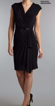 New Michael Michael Kors Women's V-Neck Ruched Wrap Sheath Dress Black Sz M - $82.75