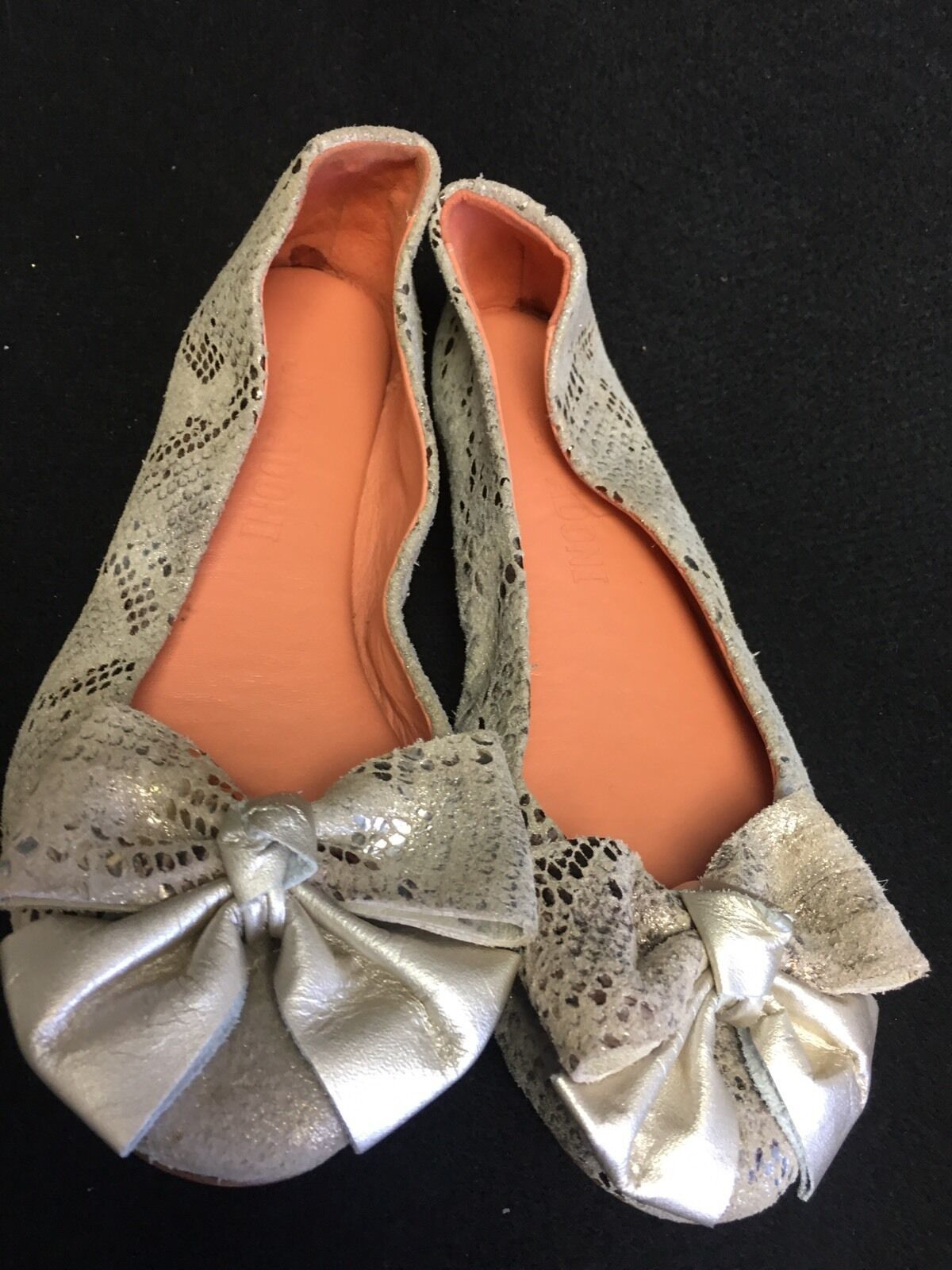 Jay Adoni Anthropologie Leather Snakeskin Ballet Flats Bow Gold Size 6 M