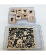 Stampin Up Halloween Wood Mount Stamps-All Hallow's Eve 113264,Batty For... - $27.10