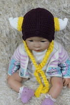 Handmade Purple Vikings Hat Knit Crochet Infant Baby Child Kids Hat Cap ... - $8.99