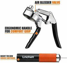 Lnchett Grease Gun, Professional Pistol Grip Grease Gun with 18 Inch Flex Hose image 3