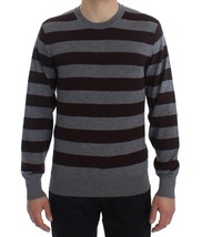 Dolce & Gabbana Brown Gray Striped Cashmere Pullover Sweater 20547 - $366.67