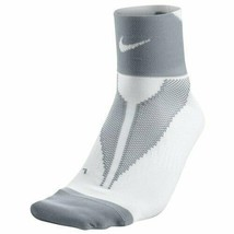 Nike Unisex Elite Lightweight Quarter High Running Socks White/Gray Small SX4... - $14.99