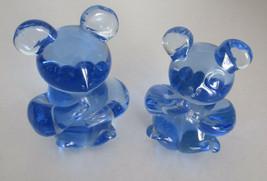 """Lot 2 Blue Glass Bears 3"""" tall Art Glass Fenton?   - $18.46"""