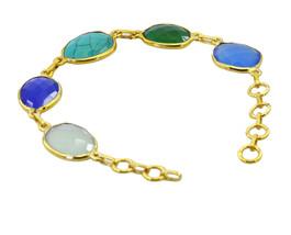 adorable Multi Gemstone Gold Plated Multi Bracelet Natural exporter US gift - $18.80