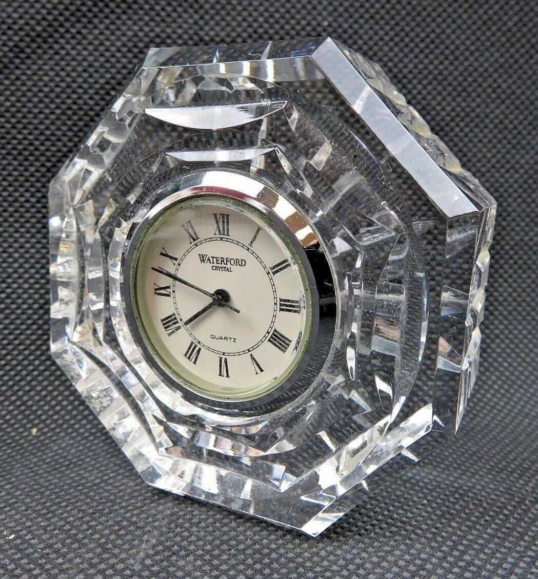 Primary image for Vintage Waterford Crystal Octagonal Cut Crystal Shelf Mantel Clock Signed