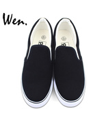 Wen Design Custom Black Slip On Shoes Hand Painted Canvas Sneakers for M... - $79.00