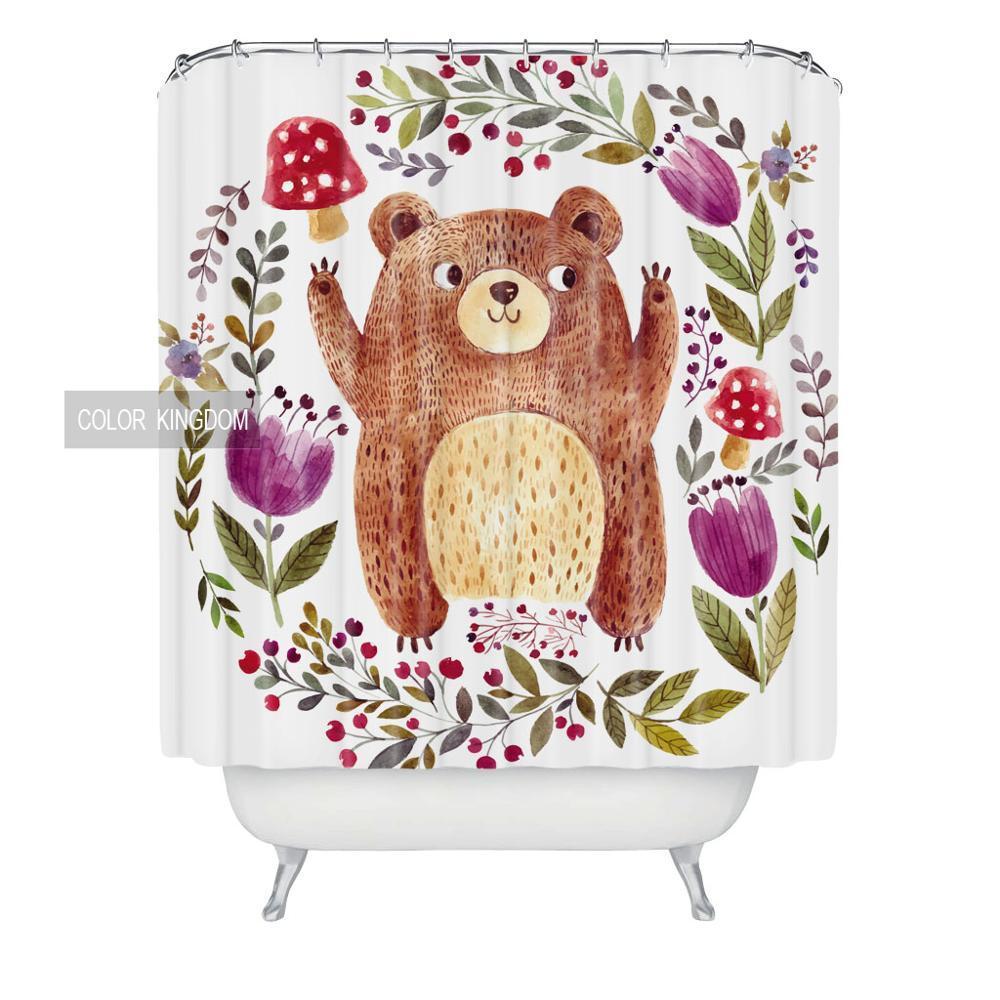 Sweetenlife Cartoon Bear Bath Curtain 2017 New Pattern Shower Curtains Waterproo - $35.19