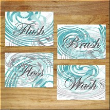 Teal Aqua Gray Bathroom Bath Wall Art Prints Quotes Rules Decor Abstract... - $13.99