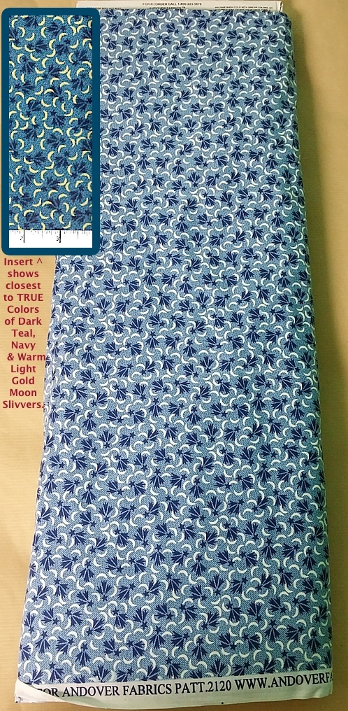 Half Yd Andover Shooting Stars OOP Quilt Cotton Fabric Navy, White Moon, K. Hall