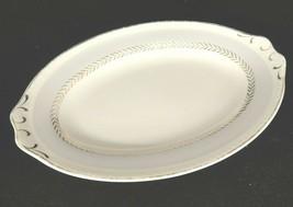 Homer Laughlin Georgian Egg Shell Gravy Underplate Relish Gray Band Gold Laurel - $14.84