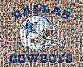 Dallas Cowboys Mosaic Print Art Designed Using over 100 of the Greatest ... - $42.00+