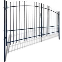 Double Door Fence Gate Spear Top Steel Black Patio Barricade Rail Garden... - $446.49