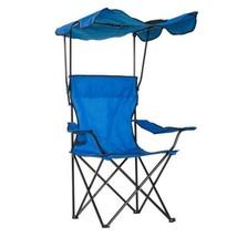 Folding Chair, Chair Sun Shield Drinks Holder Fabric-Blue Camping Picnic... - $39.61