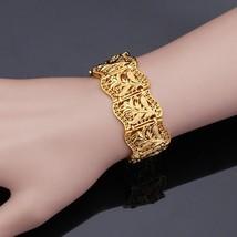 U7 Vintage Bracelet Bangle Plant Pattern Trendy Yellow Gold Color Women/... - $16.95