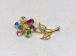 JOAN RIVERS SIGNED FAUX MULTI COLOR PASTEL FACETED STONE BROOCH VINTAGE - $32.67