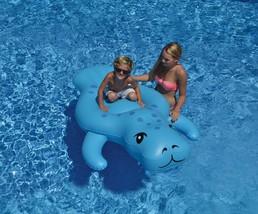 "72"" Light Blue Manatee Inflatable Swimming Pool Floating Lounge Raft - €21,24 EUR"