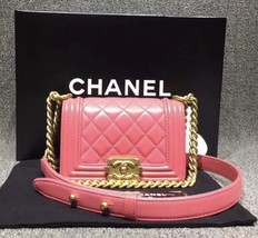 Auth Chanel Quilted Lambskin Pink Mini Boy Flap Bag Gold Hardware RARE