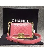Auth Chanel Quilted Lambskin Pink Mini Boy Flap Bag Gold Hardware RARE  - $3,299.99