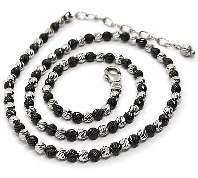 925 STERLING SILVER OFFICINA BERNARDI DIAMOND CUT SPHERES 4 MM BLACK NECKLACE