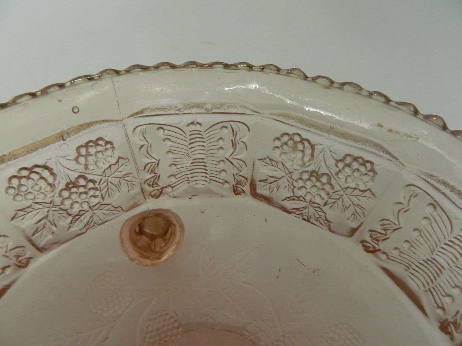 Fenton Pink Glass Three Footed Bowl  Butterfly & Berry Pattern Saw Tooth Edge