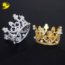 Small Crystal Tiaras Gold Wedding Crown Girl Hair Jewelry Birthday Girl ... - £6.40 GBP
