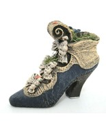 Old Fashioned Womens High Heel Shoe Boot Figurine w Blue Bird Nest Eggs ... - $14.84