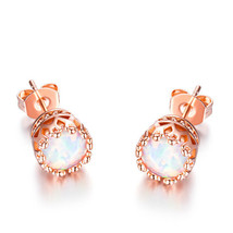 1 Pair Fashion Women's 18K Rose Gold Elegant Fire Opal Crown Stud Earring - $12.73