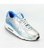 Nike Womens Air Max 90 Premium Metallic QS Sneakers Blue Silver Size 8.5... - $113.99