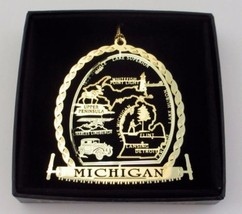 Michigan State Landmarks Brass Ornament Black Leatherette Gift Box - $13.95