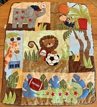 Lambs & Ivy Baby Nursery Jungle Animal Comforter Wall Hanging Crib Quilt Blanket - $39.95
